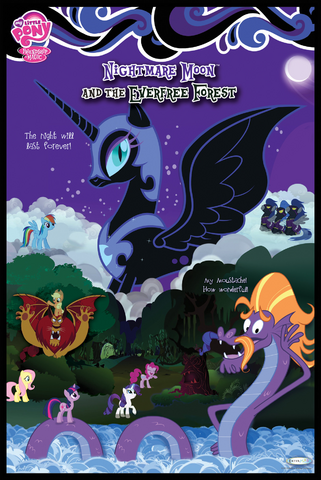 File:Nightmare Moon and the Everfree Forest.png