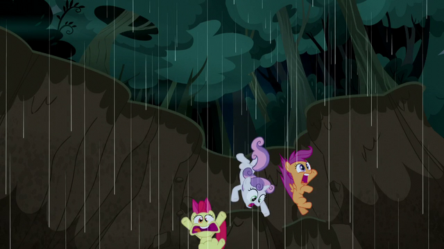 File:Cutie Mark Crusaders fall into a mudslide S5E6.png