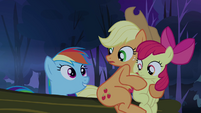 Rainbow Dash poking up behind log S3E6