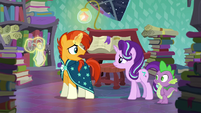 Sunburst says he wants to help while cleaning his glasses S6E2