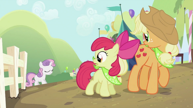 File:Applejack and Apple Bloom looking at Sweetie Belle 2 S2E05.png