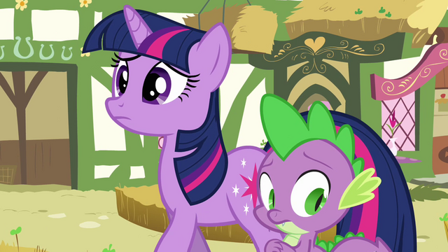 File:Twilight and Spike hearing Pinkie S3E03.png