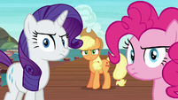 Rarity, AJ, and Pinkie turn to face Twilight S6E22