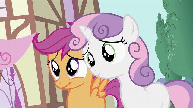 File:Scootaloo and Sweetie Belle smiles S2E06.png