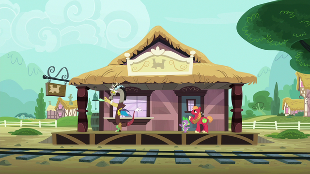 File:Discord, Spike, and Big Mac wave goodbye to Mane Six S6E17.png