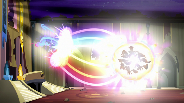 File:Mane Six fire beams of rainbow light S5E13.png