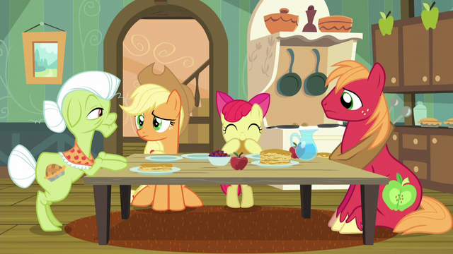 File:Apple family puzzled by Apple Bloom's words S5E4.png