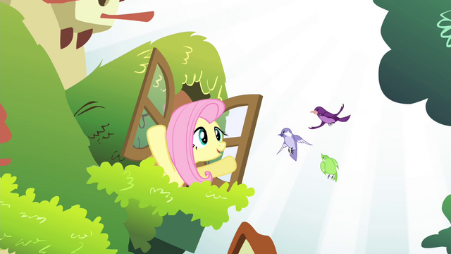 File:Fluttershy talking to the birds S4E14.png
