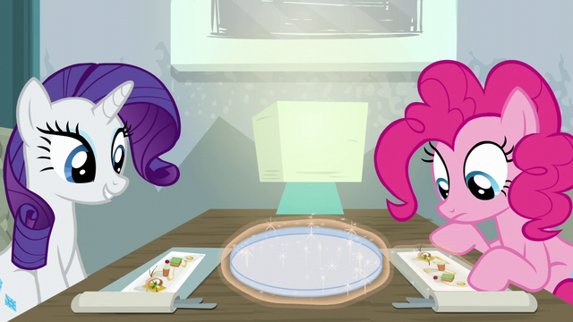 File:Rarity and Pinkie looking at their food S6E12.png