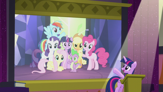 File:Twilight pointing toward Mane Six slide S5E25.png