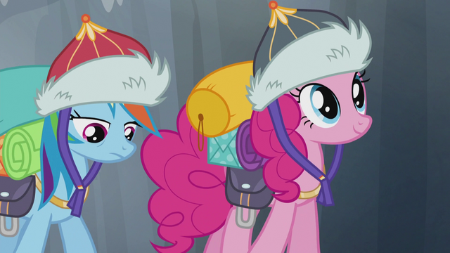 File:Pinkie smiling and Rainbow looking tired S5E8.png