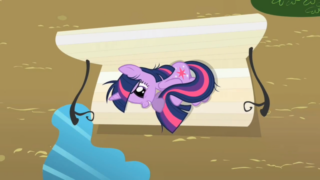 File:Twilight Sparkle on the bench S2E03.png