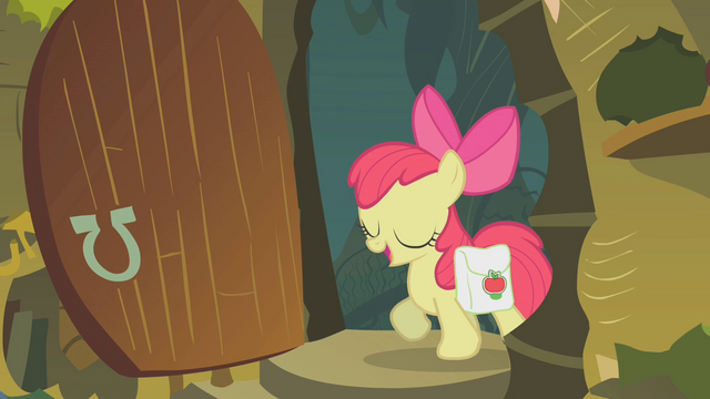File:Apple Bloom enters Zecora's hut S1E09.png