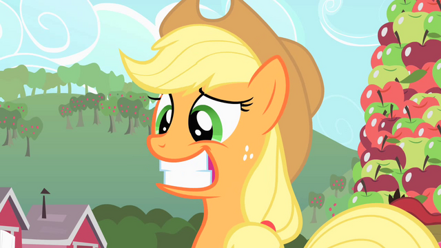 File:Applejack's artificial grin S1E25.png