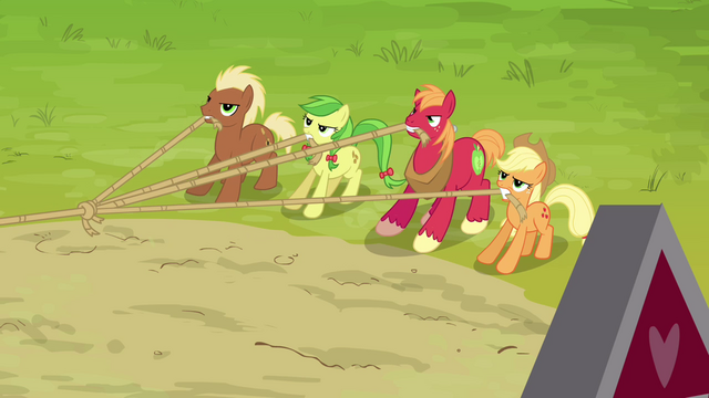 File:Applejack, Big McIntosh, Apple Fritter and Meadow Song pulling the ropes S3E03.png