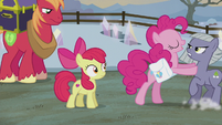 Pinkie pushing Limestone away from Apple Bloom S5E20
