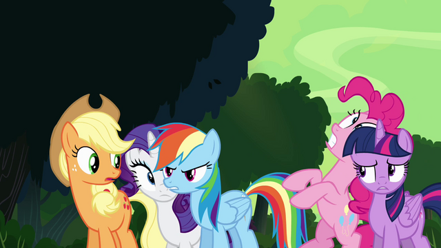 File:Rainbow shoves Pinkie away S4E04.png