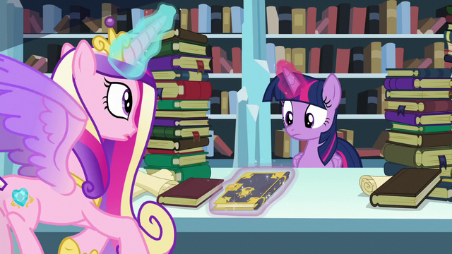File:Cadance shows Twilight the book Trotter's Tome of Reliquary S6E2.png