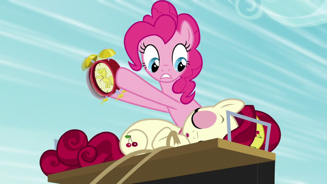 File:Pinkie tries waking up Cherry with alarm clock S5E11.png