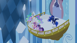 Twilight, Celestia, Luna, and Cadance on the balcony S4E25