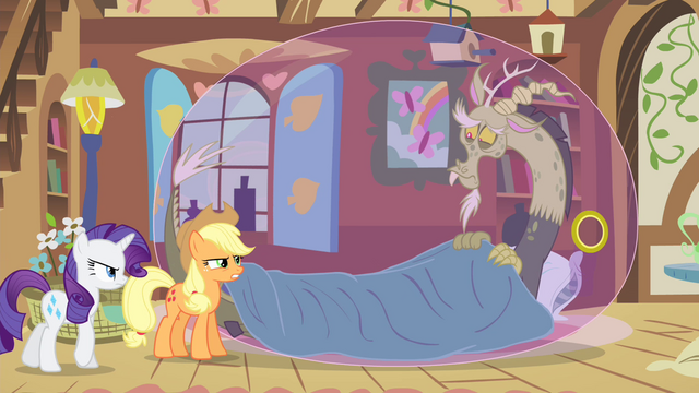 File:Applejack and Rarity looking at sick Discord S4E11.png