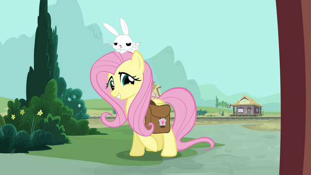 File:Fluttershy and Angel at the front door S03E11.png