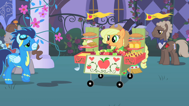 File:Soarin' approaches Applejack's stand S1E26.png