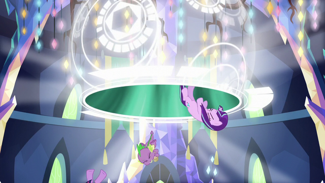 File:Twilight, Spike, and Starlight sucked out from the portal S5E26.png