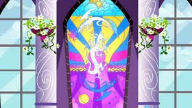 Celestia and Luna depicted on stain glass defeating Discord S02E01.png