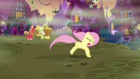 Fluttershy running away from Granny and Big Mac S5E21