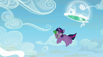 Twilight Sparkle flying out of the portal S5E26