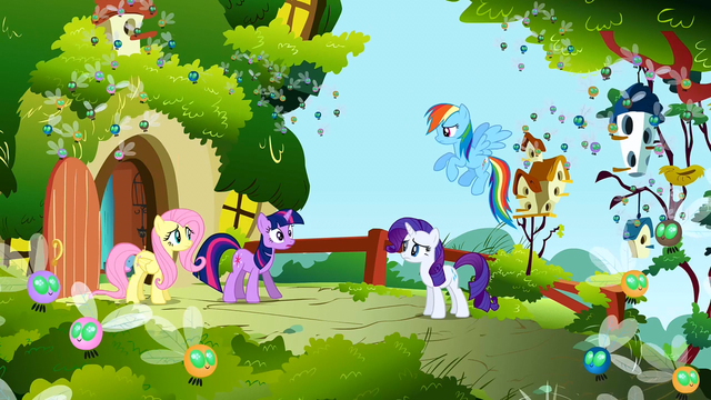 File:Main ponies at Fluttershy's cottage looking nervous S1E10.png
