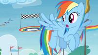 Rainbow Dash flying in Rainbow Falls S4E10
