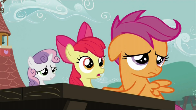 File:The Cutie Mark Crusaders worried and lacking ideas S2E23.png