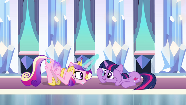 """File:Cadance and Twilight doing the """"Sunshine"""" dance in the Crystal Empire S3E01.png"""