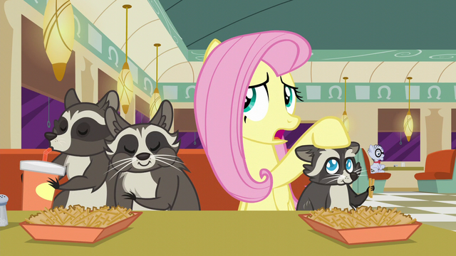 "File:Fluttershy puts her hoof on Smoky Jr. ""so they were temporarily camped out"" S6E9.png"