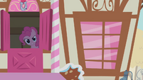 Pinkie Pie beckoning Twilight S1E9