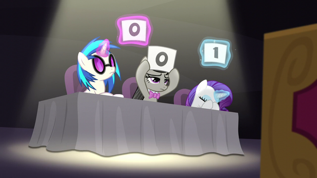 File:DJ Pon-3, Octavia, and Rarity give poor scores S5E4.png