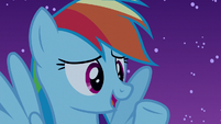 Rainbow Dash acting innocent S6E15