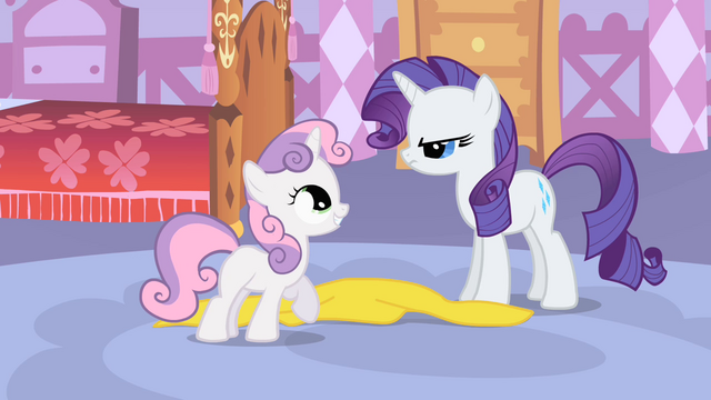 File:Smiling Sweetie Belle and angry Rarity S1E17.png