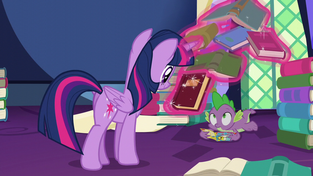 File:Twilight levitating a book near Spike S5E23.png