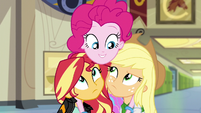 Pinkie Pie with arms around Sunset and Applejack EG3
