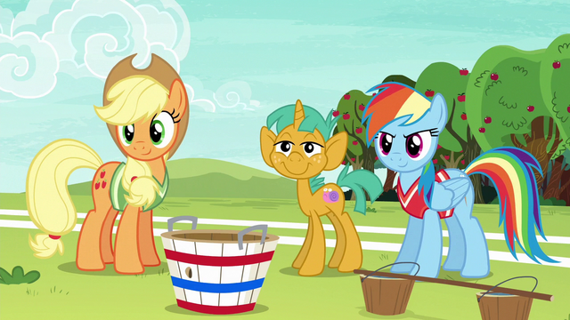 File:AJ, Rainbow, and Snails look at Fluttershy and Pinkie S6E18.png