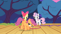 Apple Bloom and Sweetie Belle sees Scootaloo trying to fly S4E05.png