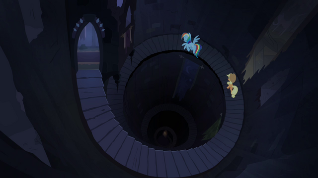 File:Applejack and Rainbow in spiral staircase S4E03.png