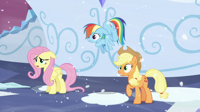 File:Fluttershy, Rainbow, and Applejack heard Shining Armor S6E2.png