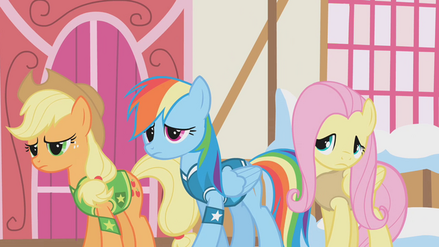 File:Applejack, Rainbow Dash and Fluttershy are disappointed S1E11.png