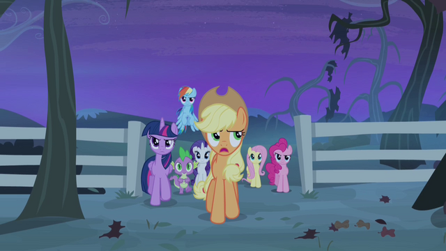 File:Applejack and friends begin the stakeout S4E07.png