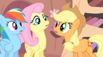 Applejack looking at Fluttershy S4E07