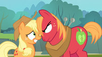 Big McIntosh looks at Applejack's face S4E09